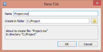 New Project File Dialog
