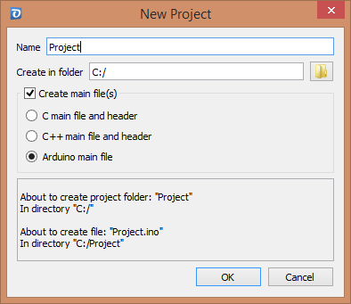 New Project Folder Dialog